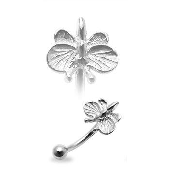 Strieborný piercing do obočia - motýlik