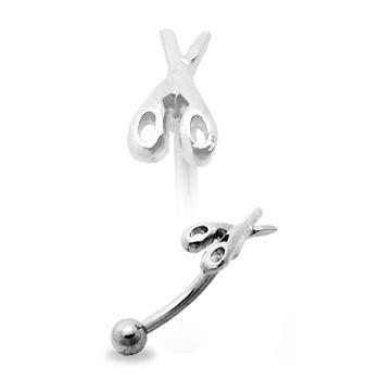Strieborný piercing do obočia - nožnice