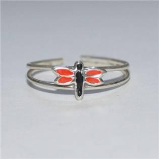 Strieborný prstienok na nohu - vážka červená