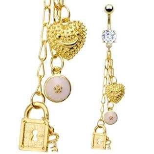 """Pozlacený piercing do pupíku """"Tiffany"""""""