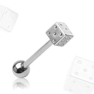 Piercing do jazyka - hracia kocka