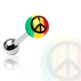 Piercing do jazyka - peace