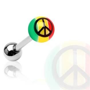 Piercing do jazyka - peace
