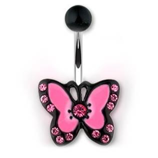Piercing do pupíku s motivem motýlka