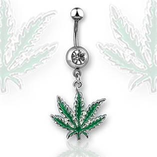Piercing do pupíku - list marihuany