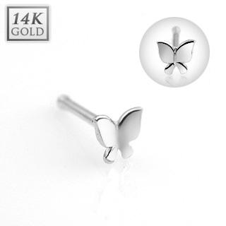 Zlatý piercing do nosu - motýlek, Au 585/1000