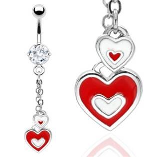 Šperky4U Visací piercing do pupíku se srdíčky - WP01039