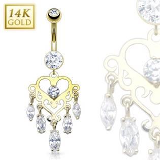 Zlatý piercing do pupku, Au 585/1000