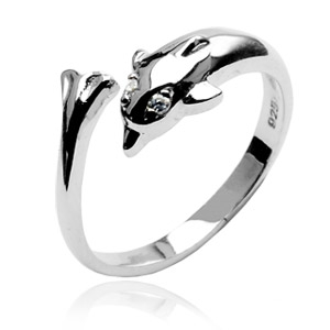 Stříbrný prstýnek na nohu - delfín