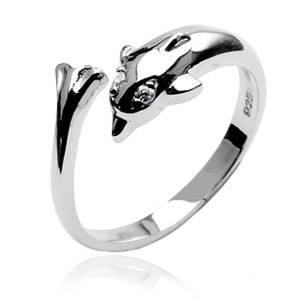 Strieborný prstienok na nohu - delfín