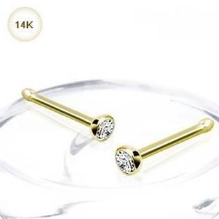 Zlatý piercing do nosa - 2 mm zirkón, Au 585/1000