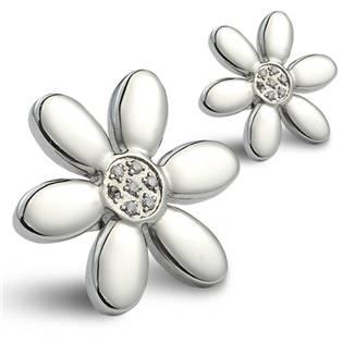 Oceľové náušnice - kvetinky zdobené zirkónmi