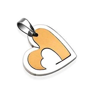 Ocelový přívěšek - srdce zlaté