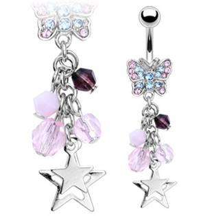 Šperky4U Piercing do pupíku s barevnými kamínky a zirkony - WP01225