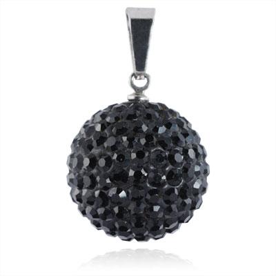 Ocelový přívěšek kulička 18 mm - černé krystaly