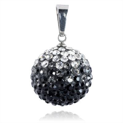 Ocelový přívěšek kulička 18 mm - čiré a černé krystaly