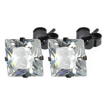 Čierne oceľové náušnice - zirkóny 6 x 6 mm