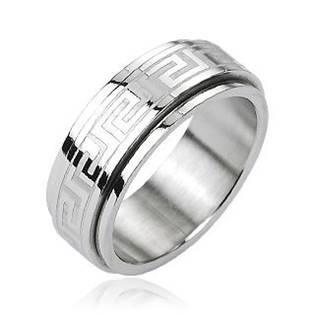 Ocelový rotační antistresový prsten s řeckým motivem OPR1229
