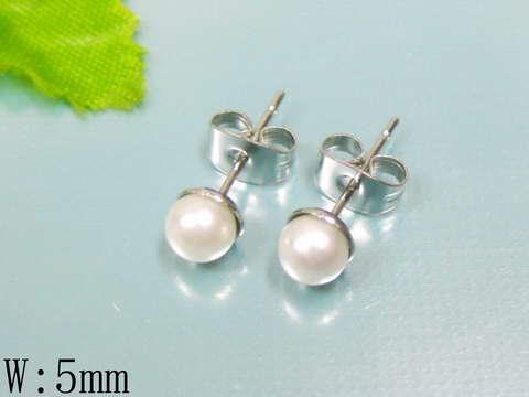 Oceľové náušnice perličky biele, 5 mm