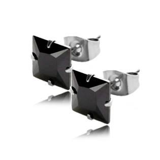 Oceľové náušnice - čierne kamienky 6 x 6 mm