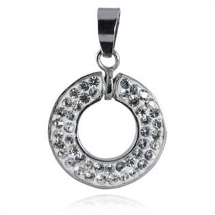 Ocelový přívěšek kroužek - čiré krystaly