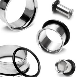 Šperky4U Ocelový tunel do ucha s gumičkou - TN01001-25