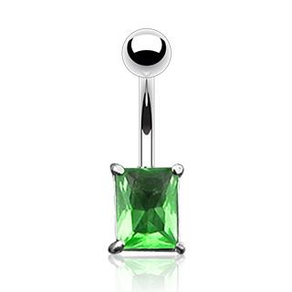 Piercing do pupíku - zelený zirkon