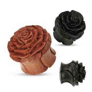 Vyrezávaný plug do ucha ruža - prírodné drevo