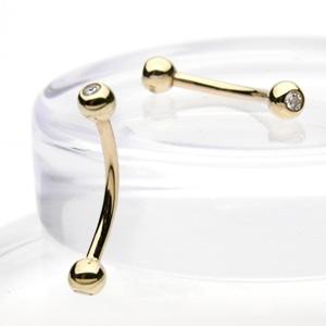 Zlatý piercing do obočí, Au 585/1000