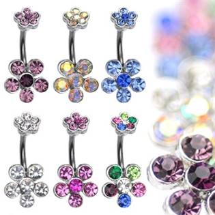 Šperky4U Piercing do pupíku - kytičky - WP01055-AB