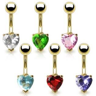 Šperky4U Piercing do pupíku - srdíčko - WP01016-G