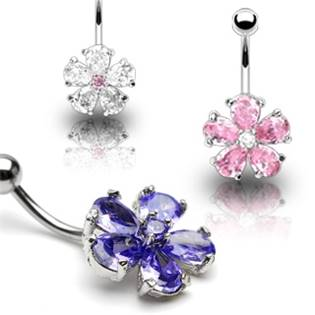 Šperky4U Piercing do pupíku - kytička - WP01009-C