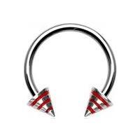 Piercing - podkova - červenými prúžkami