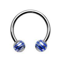Piercing - podkova - modré prúžky