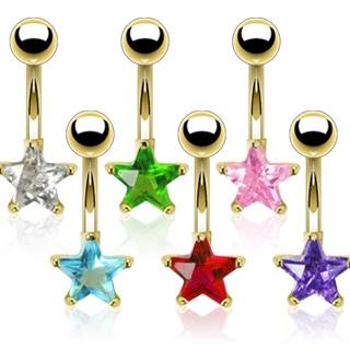 Pozlacený piercing do pupíku - hvězda