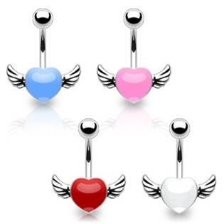 Šperky4U Piercing do pupíku - okřídlené srdce - WP01001-W