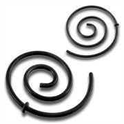 Rozťahovák do ucha - špirála - čierna oceľ