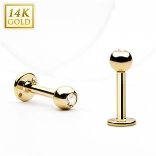 Zlatý piercing do brady - labreta zirkon, Au 585/1000