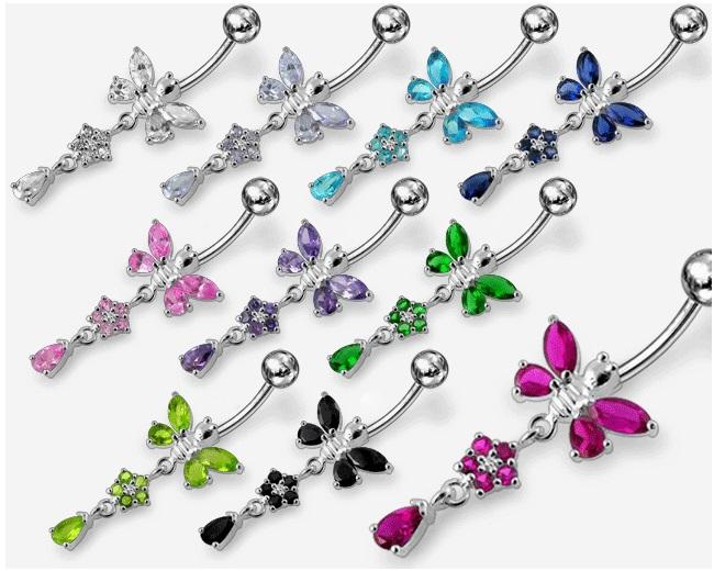 Strieborný piercing do - motýlik