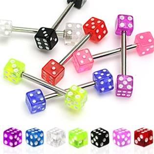 Šperky4U Piercing do jazyka - hrací kostky 5x5 mm - PJ01188-A