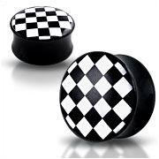 Akrylátový plug do ucha šachovnica