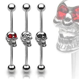 Priemyselný piercing - lebka