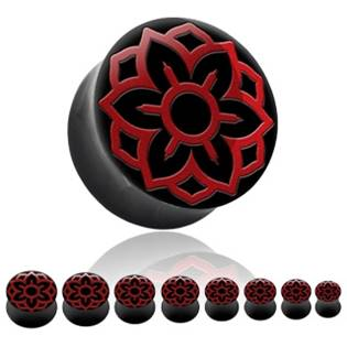 Levně Rohovinový plug do ucha - červené ornamenty - PL01061-22