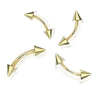 Pozlacený piercing do obočí - kónus