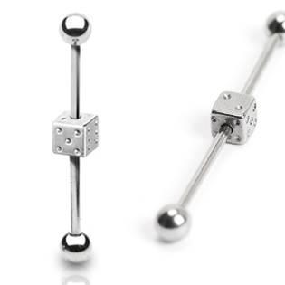 Priemyselný piercing - hracia kocka