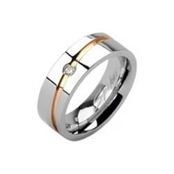 Dámsky snubný prsteň oceľový, šírka 6 mm, veľ. 57