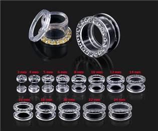 Šperky4U Šroubovací tunel do ucha s čirými zirkony - TN01012-20