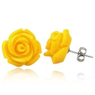 Oceľové náušnice - žlté ruže