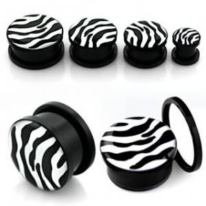 Šroubovací plug do ucha - zebra