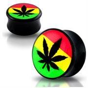 Akrylátový plug do ucha - list marihuany